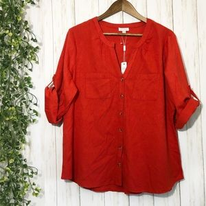NWT Spense Button Down Top Red Size: XL